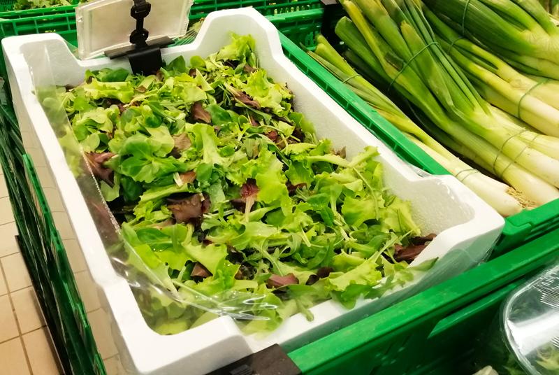 insalata confezionata in cassette di polistirolo per alimenti
