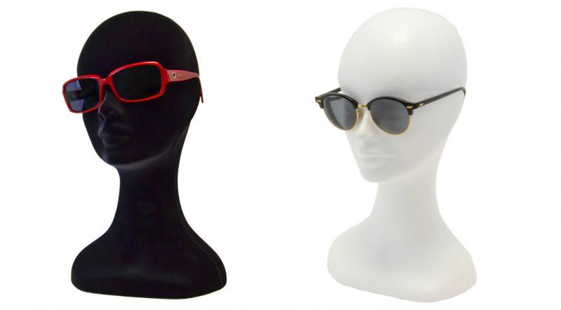 teste di polistirolo per esposizione cappelli parrucche occhiali